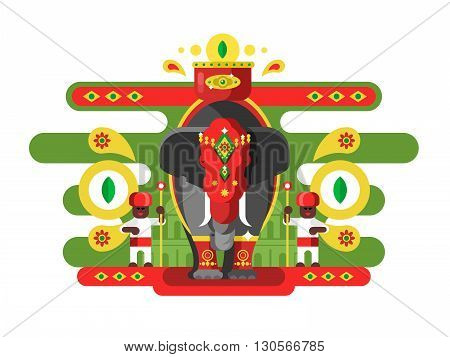 Decorated Indian elephant. Animal and culture asian, mammal ethnic, vector illustration