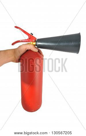 in hand red metal fire extinguisher and a plastic spray