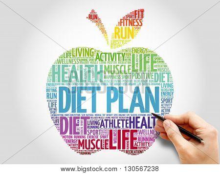 Diet Plan apple word cloud concept, presentation background
