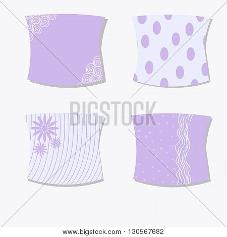 Set of cushions for interior vector illustration, stylish pillows in soft lilac color