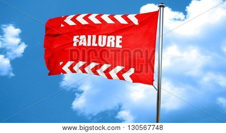 Failure sign with some smooth lines, 3D rendering, a red waving