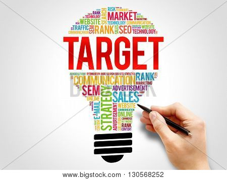 TARGET bulb word cloud business concept, presentation background