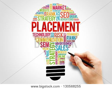 PLACEMENT bulb word cloud business concept, presentation background