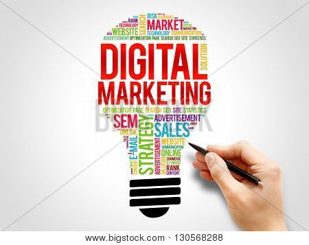 Digital Marketing bulb word cloud business concept