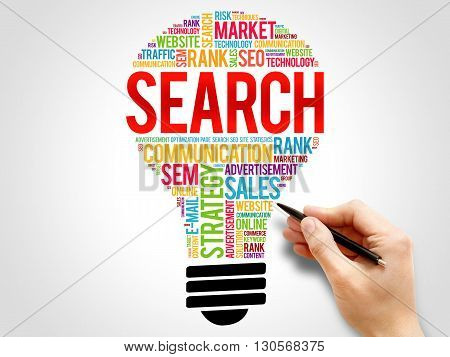 SEARCH bulb word cloud business concept, presentation background