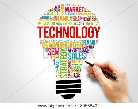 TECHNOLOGY bulb word cloud business concept, presentation background