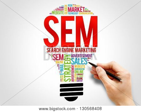 SEM (Search Engine Marketing) bulb word cloud business concept