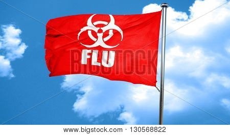 Influenza virus concept background, 3D rendering, a red waving f