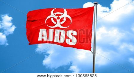 Aids virus concept background, 3D rendering, a red waving flag