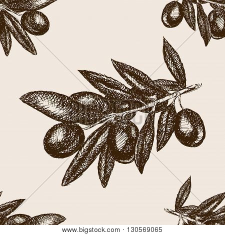 Olive branch sketch style seamless pattern vector illustration. Old engraving imitation.