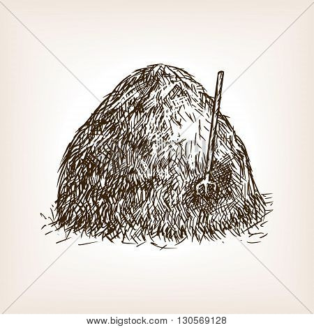 Stack of hay sketch style seamless pattern vector illustration. Old engraving imitation.