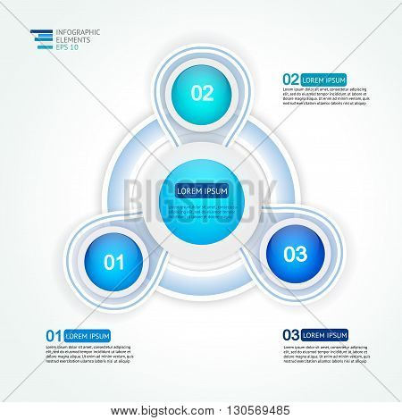 Circle three steps infographic  design template for statistics,  analytics, marketing  reports, presentation and web design  in blue colors. Vector illustration.