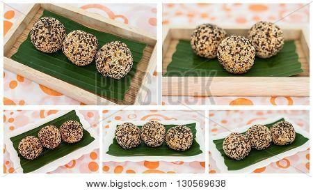 Thailand dessert Sesame balls was cooking in Thai street market