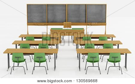 Classroom Without Student On White
