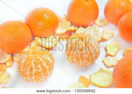 organic mandarin (tangerines) and zest over white