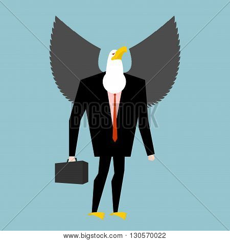 Eagle Businessman. Business Bird In Suit. Winged Black Manager In Suit. Bald Eagle With Wings And Ca