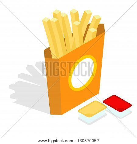 French Fries Isometrics. Slices Of Roasted Potatoes In Paper Box. 3D Fast Food. Fresh Juicy Yellow P