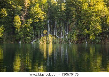 View of beautiful waterfalls in Plitvice lake, Croatia