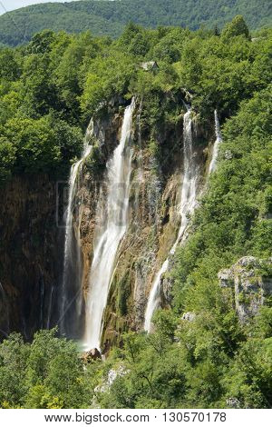 View of beautiful waterfalls from a hill in Plitvice lake, Croatia