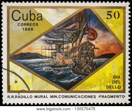 MOSCOW RUSSIA - MAY 20 2016: A stamp printed in Cuba shows ancient sailing ship and boats with sailors series