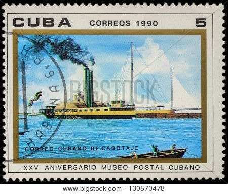 MOSCOW RUSSIA - MAY 20 2016: A stamp printed in Cuba shows old paddle steamer