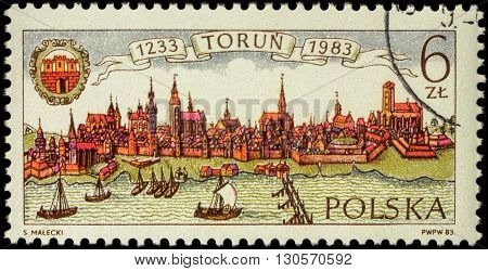 MOSCOW RUSSIA - MAY 17 2016: A stamp printed in Poland shows ancient Polish city Torun devoted to the 750th Anniversary of Torun circa 1983