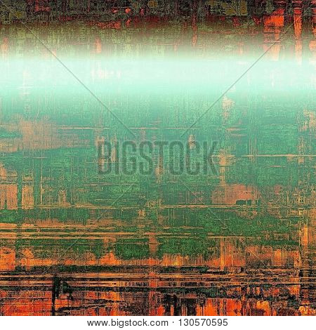 Retro vintage style elements on aged grunge texture. With different color patterns: green; red (orange); black; cyan