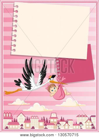 Card with a cartoon stork delivering a newborn baby girl