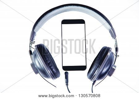 Phone And Headphones On A White Background