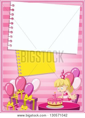 Card with a cartoon blonde girl having fun at birthday party