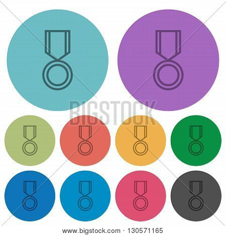 Color medal flat icon set on round background.