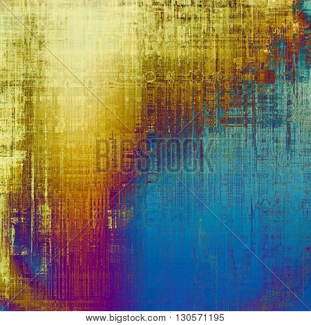 Distressed grunge texture, damaged vintage background with different color patterns: yellow (beige); brown; blue; red (orange); purple (violet)