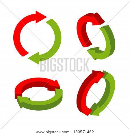 Sign exchange isometric. swap green and red arrows. metathesis icon. Interchange symbol