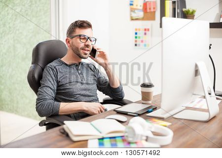 Nerdy Designer Talking Over The Phone