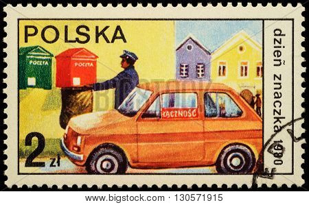 MOSCOW RUSSIA - MAY 20 2016: A stamp printed in Poland shows postman collected letters from mailbox series