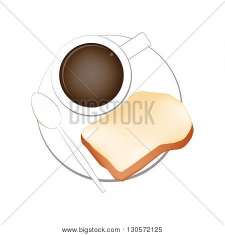 Coffee Break Hot Coffee with Homemade Freshly Baked Bread Isolated on White Background.