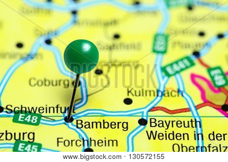 Bamberg pinned on a map of Germany