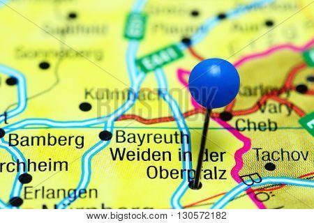 Weiden in der Oberpfalz pinned on a map of Germany