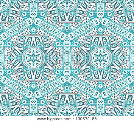 Abstract winter frosty snowflakes  background seamless vector pattern
