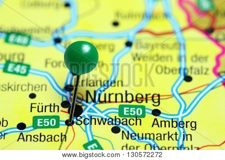 Schwabach pinned on a map of Germany
