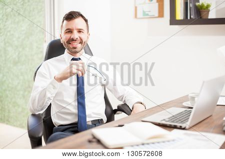 Young Attorney Working In His Office