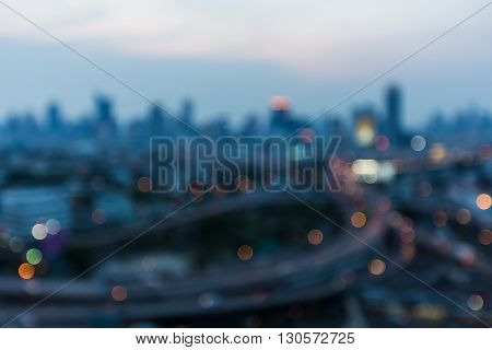 After sunset blurred lights city downtown night view