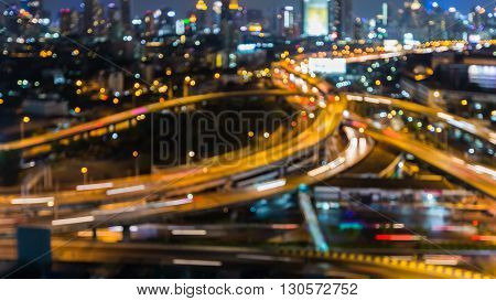 Abstract blurred overpass interchanged lights nigh view