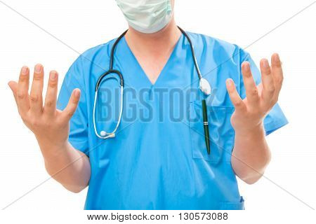 Surgeon Shows His Sterile Hands On A White Background
