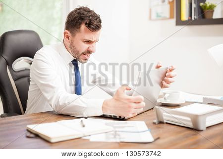 Businessman With A Slow Internet Connection