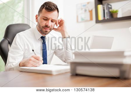 Miserable Attorney Signing A Pile Of Documents