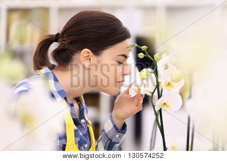 woman touches and smells an white orchid