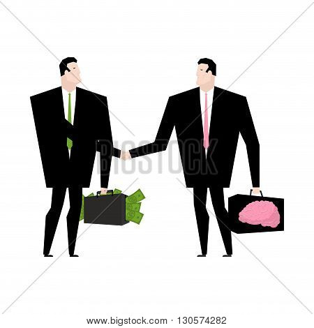 Knowledge Sale. Transaction Exchange Money On Idea. Thoughts Change For Cash. Suitcase With Dollars.
