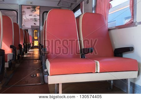 Cabin of a Public Thai Train Railway with seat. This is a public train Does not require a property release.