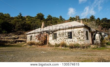 Deserted habondoned bricked house in Troodos mountains in Cyprus